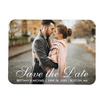Elegant Modern Save The Date Engagement Photo WS Magnet