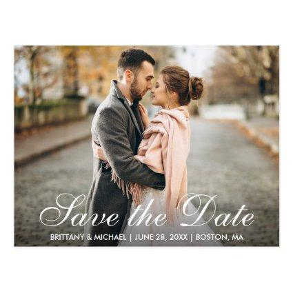 Elegant Modern Save The Date Engagement Photo WSB