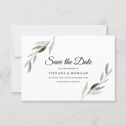 Elegant Modern Watercolor Green Leaf Wedding Save The Date