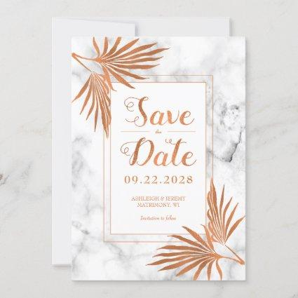 Elegant Modern White Marble Copper Save The Date