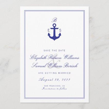 Elegant Nautical Clean Monogram Save The Date Card