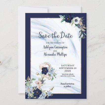 Elegant Nautical Floral Anchor Navy Blue Blush Save The Date