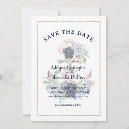Elegant Nautical Floral Anchor Navy Blue Champagne Save The Date