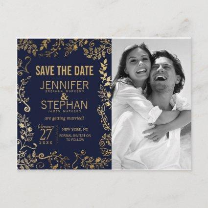 Elegant Navy Blue and Gold Floral Save the Dates Announcements