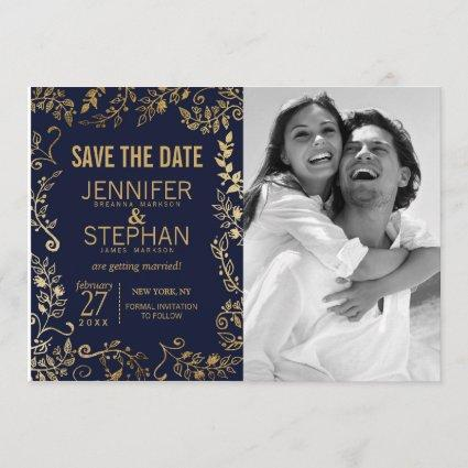 Elegant Navy Blue and Gold Floral Save the Dates Save The Date