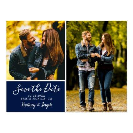 Elegant Navy Blue Save the Date Photo Collage