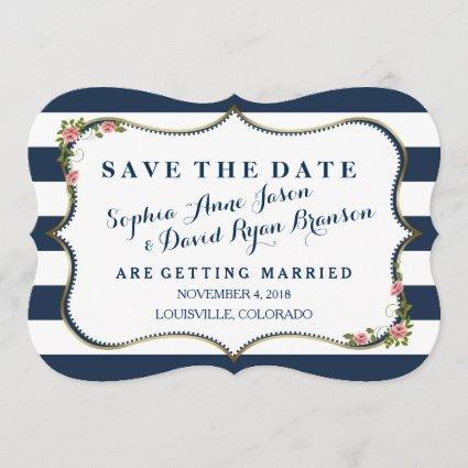 Elegant Navy Blue Stripes Wedding Save The Date