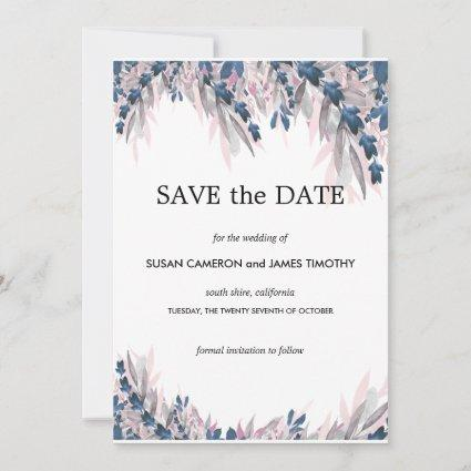 Elegant Navy Blush watercolor floral Save the Date