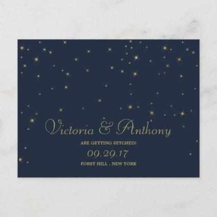 Elegant Navy & Gold Falling Stars Save The Date Announcement