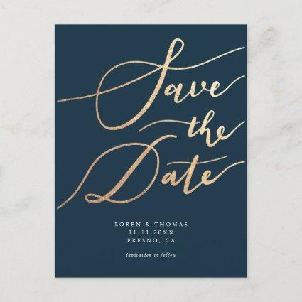 Elegant Navy Gold Script Save the Date Announcement