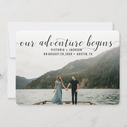 Elegant Our Adventure begins Save the Date Photo