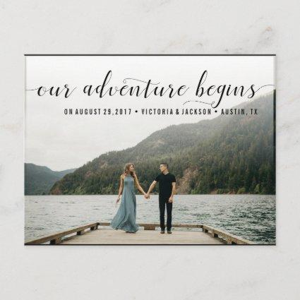 Elegant Our Adventure Save the Date Photo Announcement