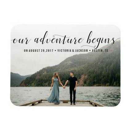 Elegant Our Adventure Save the Date Photo wedding Magnet
