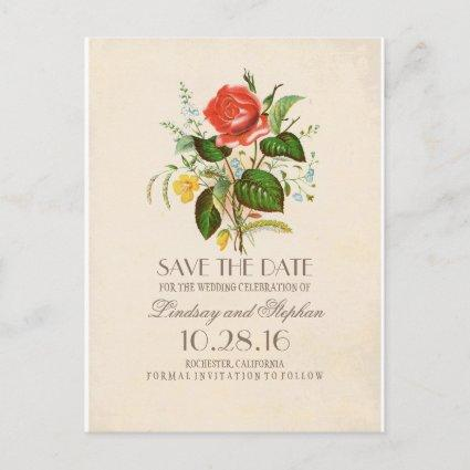 elegant painted flowers vintage save the date announcement