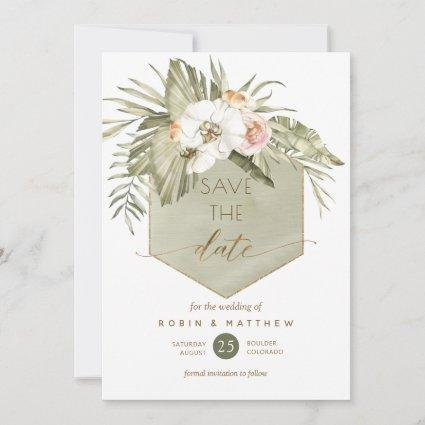 Elegant Palm Leaves Floral Green Watercolor Save The Date