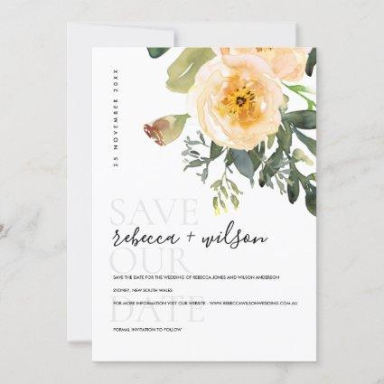 ELEGANT PASTEL PEACH PEONY WATERCOLOR FLORAL SAVE THE DATE