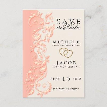 Elegant Peach Floral Swirl Save the Date