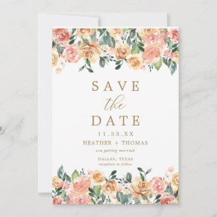 Elegant Peach Gold Floral Watercolor Simple Save The Date