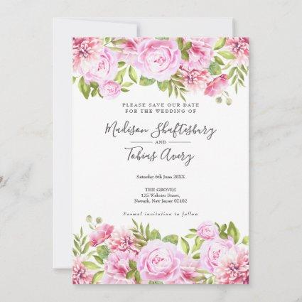 Elegant Peony Watercolour Floral Save the Date