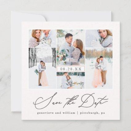 Elegant Photo Collage Calligraphy Save the Date