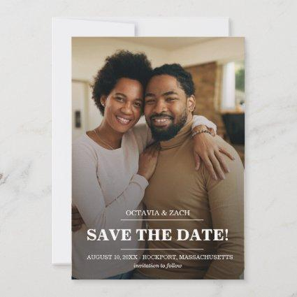Elegant Photo Modern Typography Save the Date Card