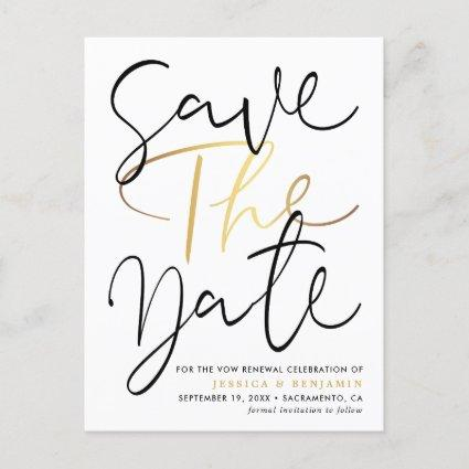 Elegant Photo Vow Renewal Save The Date Announcement