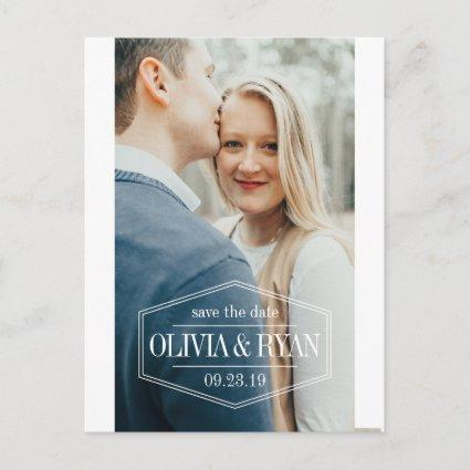 Elegant photo wedding save the date announcement