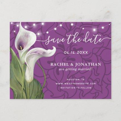 Elegant Picasso Calla Lily Floral Save the Date Announcement