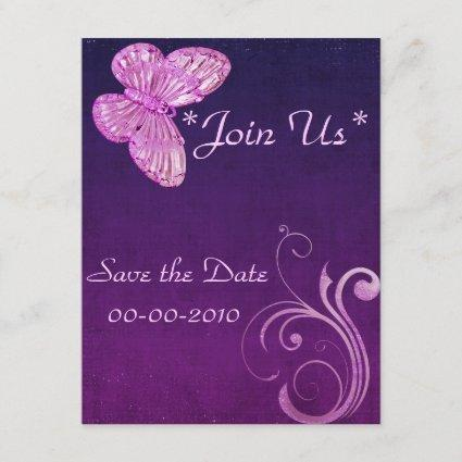 """Elegant Pink Butterfly"" Beautiful Expressions Save The Date"