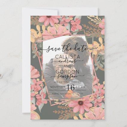 Elegant Pink Golden Sage Flowers Photo Wedding Save The Date
