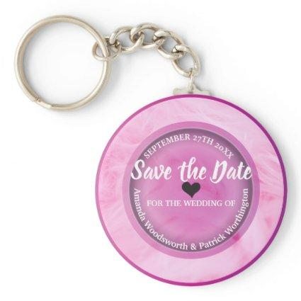 Elegant pink save the date Button Keychain