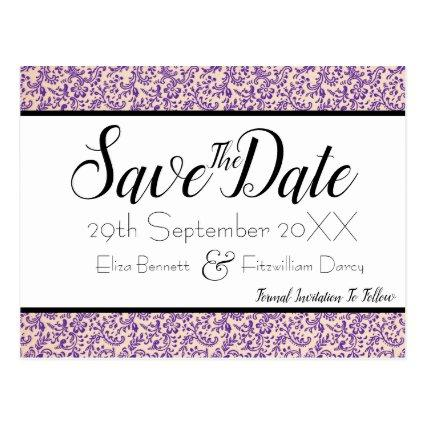 Elegant Purple Floral Save the Date Cards