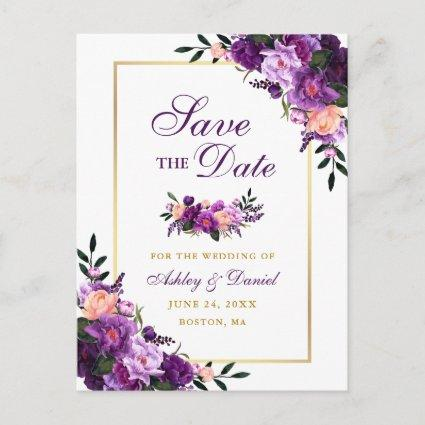 Elegant Purple Violet Floral Gold Save the Date Announcement