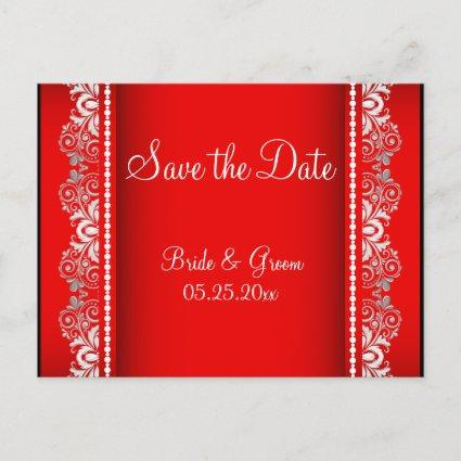 Elegant Red and Silver Lace Style   Personalize Announcement