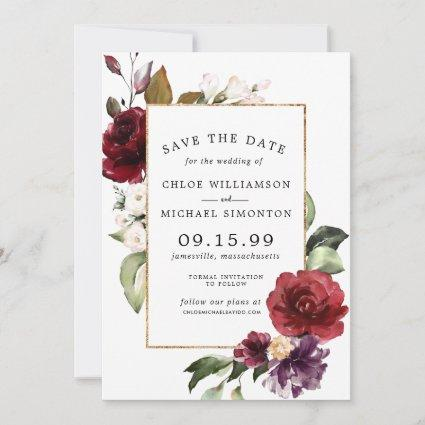 Elegant Red Floral and Gold Save The Date