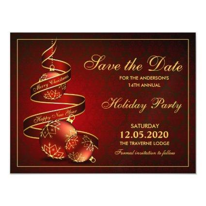 Elegant Red Gold Christmas Party Save The Date Magnetic Invitation