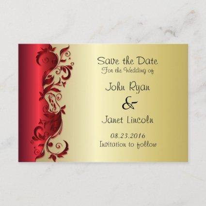 Elegant Red & Gold Florid Wedding Design Save The Date
