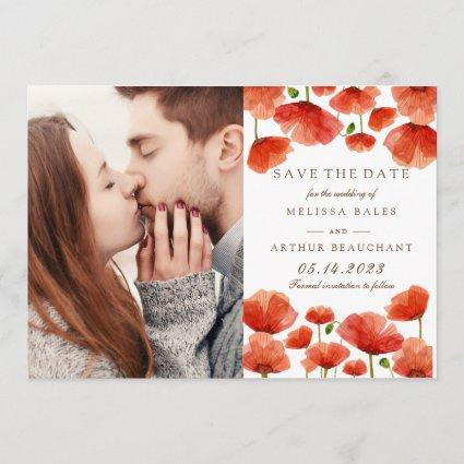 Elegant Red Poppy Flowers Photo Save the Date