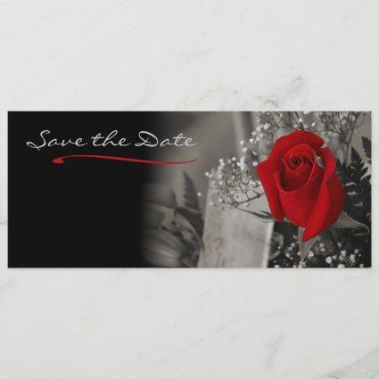 Elegant Red Rose Black and White Save the Date