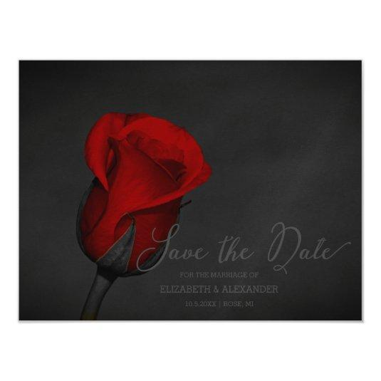 Elegant Red Rose Floral Save The Date Magnetic Card