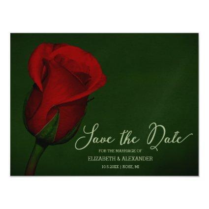 Elegant Red Rose Floral Save The Date Magnetic Invitation
