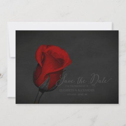 Elegant Red Rose Floral Wedding Save The Date