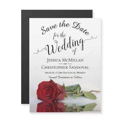 Elegant Red Rose Reflections Wedding Save the Date Magnetic Invitation