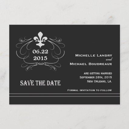 Elegant Retro Style Fleur de Lis Save the Date