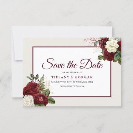 Elegant Romantic Burgundy Floral Wedding Save The Date