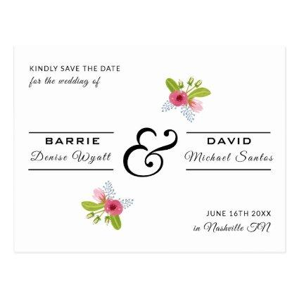 Elegant Rose Floral Modern Wedding Save the Date Cards