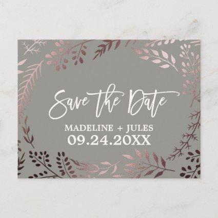Elegant Rose Gold and Gray Wedding Save the Date Announcement