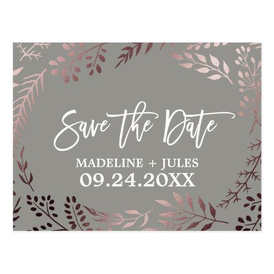 Elegant Rose Gold and Gray Wedding Save the Date Cards
