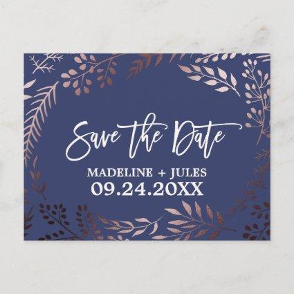 Elegant Rose Gold and Navy Wedding Save the Date Announcements Cards