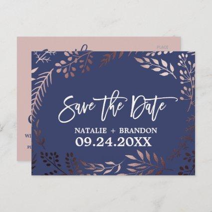 Elegant Rose Gold and Navy Wedding Save the Date Announcement